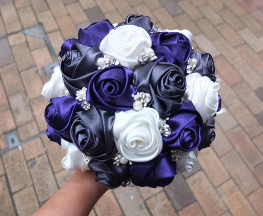 Mariage - Purple & Dark Gray and White Rose, Handmade Ribbon Rose Bouquet, accented with rhinestone (Large, 9 inch)