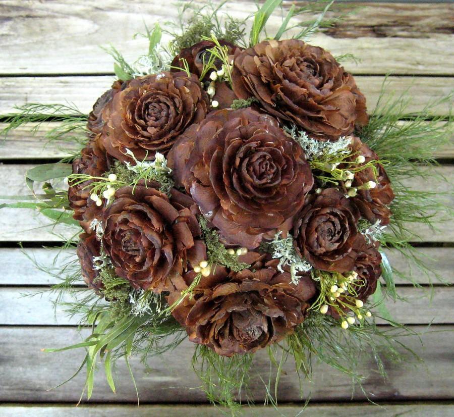 Mariage - Woodland Wedding Bouquet  - Natural Dried Flower Bouquet - Cedar Rose & Lichen - Bridal Bouquet