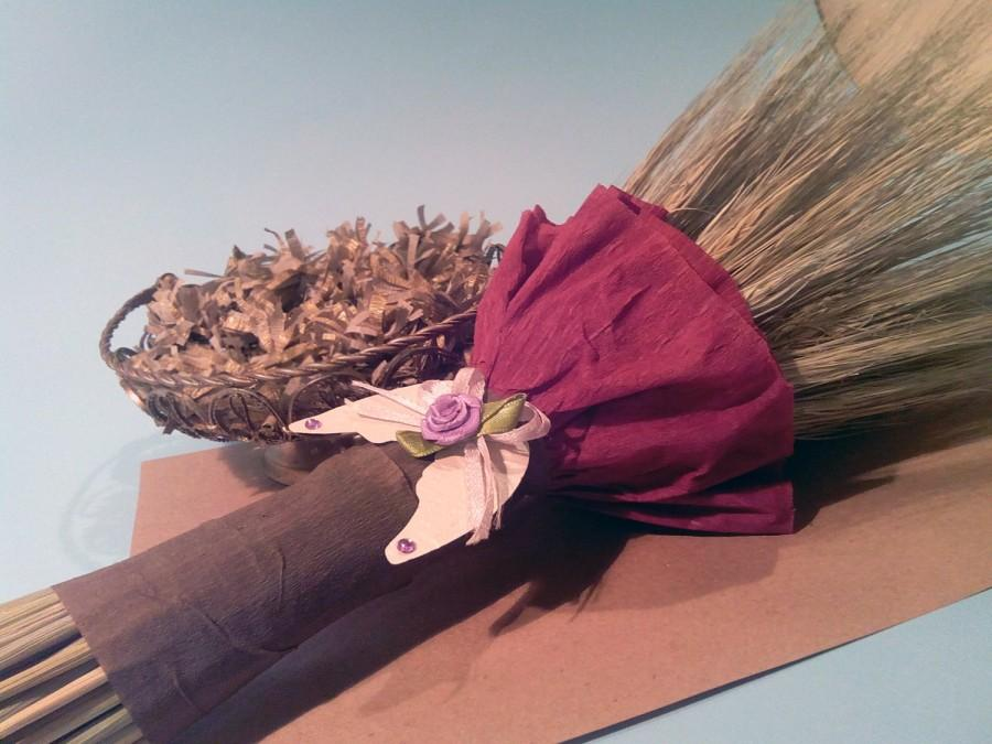 Mariage - Rustic wedding bouquet wheat barley dried herb bundle greenery real touch boho party decor dried flower bridal bouquet purple