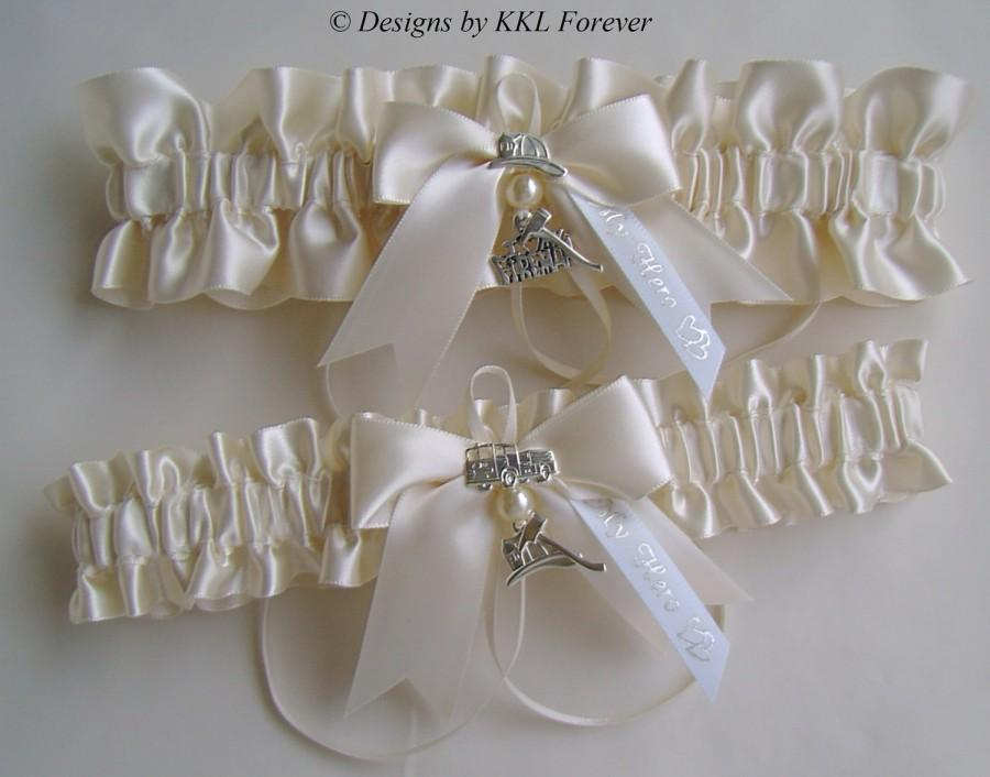 Mariage - Firefighter Wedding Garters I love My Fireman Charm Ivory Satin Garters SELECT YOUR COLOR