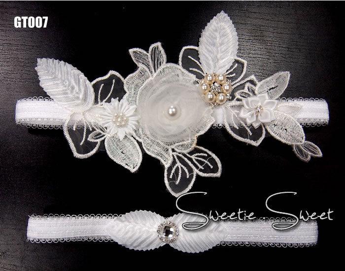 زفاف - Wedding Garter, Bridal Garter, Garter Set, Flower Garter, Lace Garter, Wedding Keepsake, Toss Garter, Rhinestone Garter  GT007-set