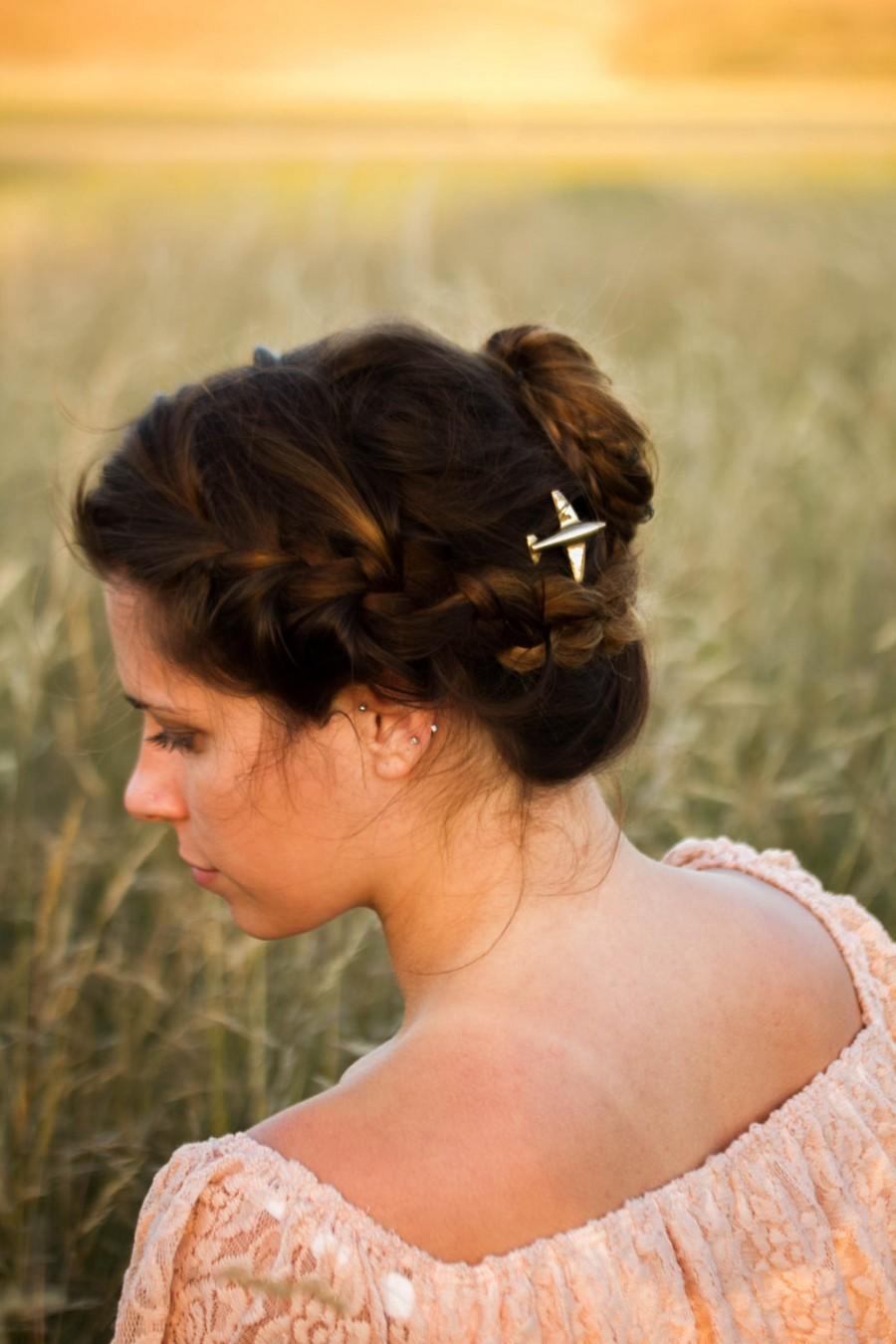 Mariage - Gold Airplane Hair Pins, Plane Hair Clip, Airplane Bobby Pins , Aeroplane Hair Grips, Pilot Hair Pin,  Flight Attendant Gift, Gift For Pilot