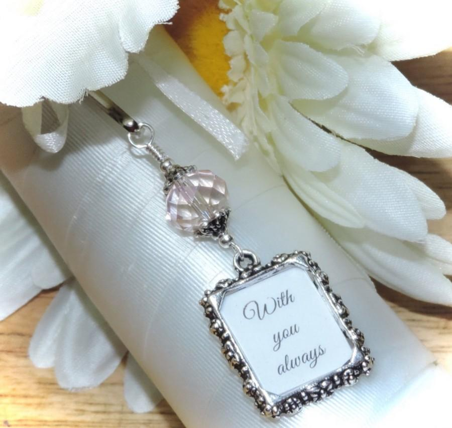 Mariage - Wedding bouquet photo charm. Pink crystal and small picture frame for a Bridal bouquet. Memorial photo charm. Unique Bridal shower gift.