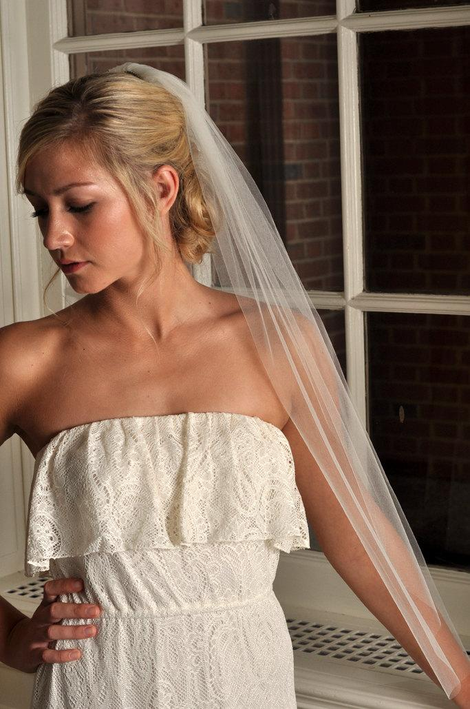 """Mariage - READY TO SHIP - Veil with Raw Cut Edge, Standard 72"""" Width - Fingertip Length - Light Ivory"""