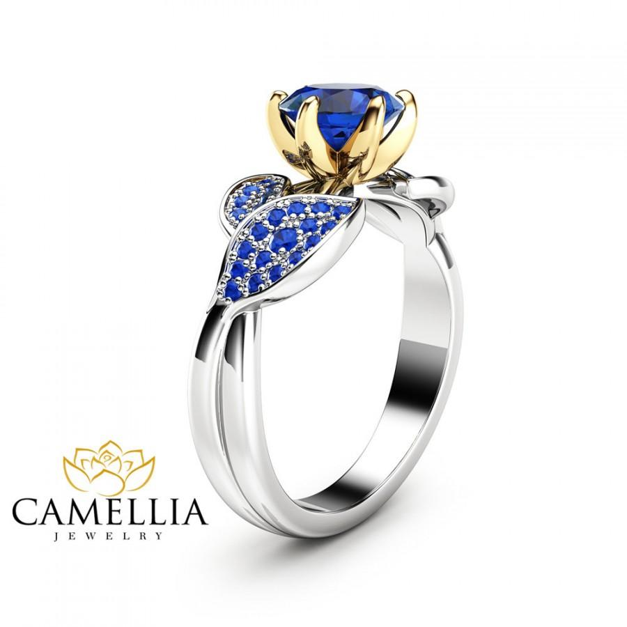 Mariage - Nature Inspired Sapphire Engagement Ring Leaf Engagement Ring 14K Two Tone Gold Sapphire Ring
