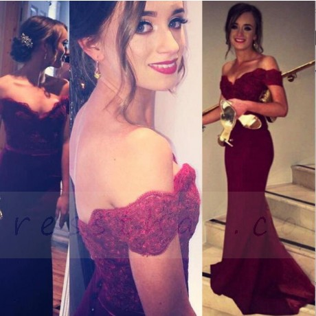 Boda - Buy Mermaid Off the Shoulder Red Stretch Satin Sweep Train Prom Dress with Appliques Special Occasion Dresses under $109.99 only in Dressthat.