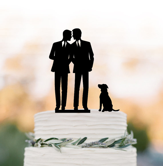 Gay Wedding Cake Topper With Dog Silhouette Same Sex Mr And Funny Unique