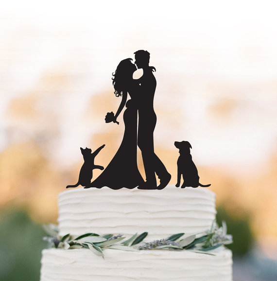 Wedding - Wedding Cake topper With dog and cat Bride and groom silhouette funny wedding cake topper