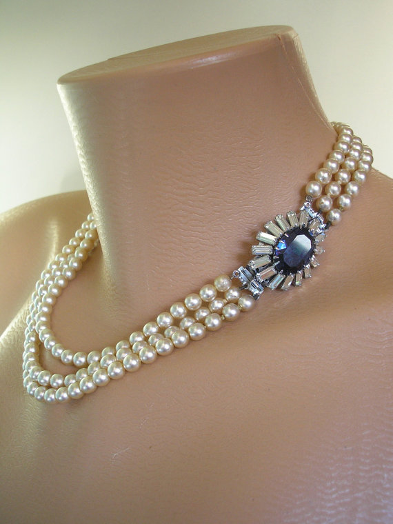 Wedding - Pearl And Sapphire Necklace, Great Gatsby Jewelry, Art Deco, Montana, Bridal Jewelry, Wedding Necklace, Bridal Pearls, Downton Abbey Jewelry