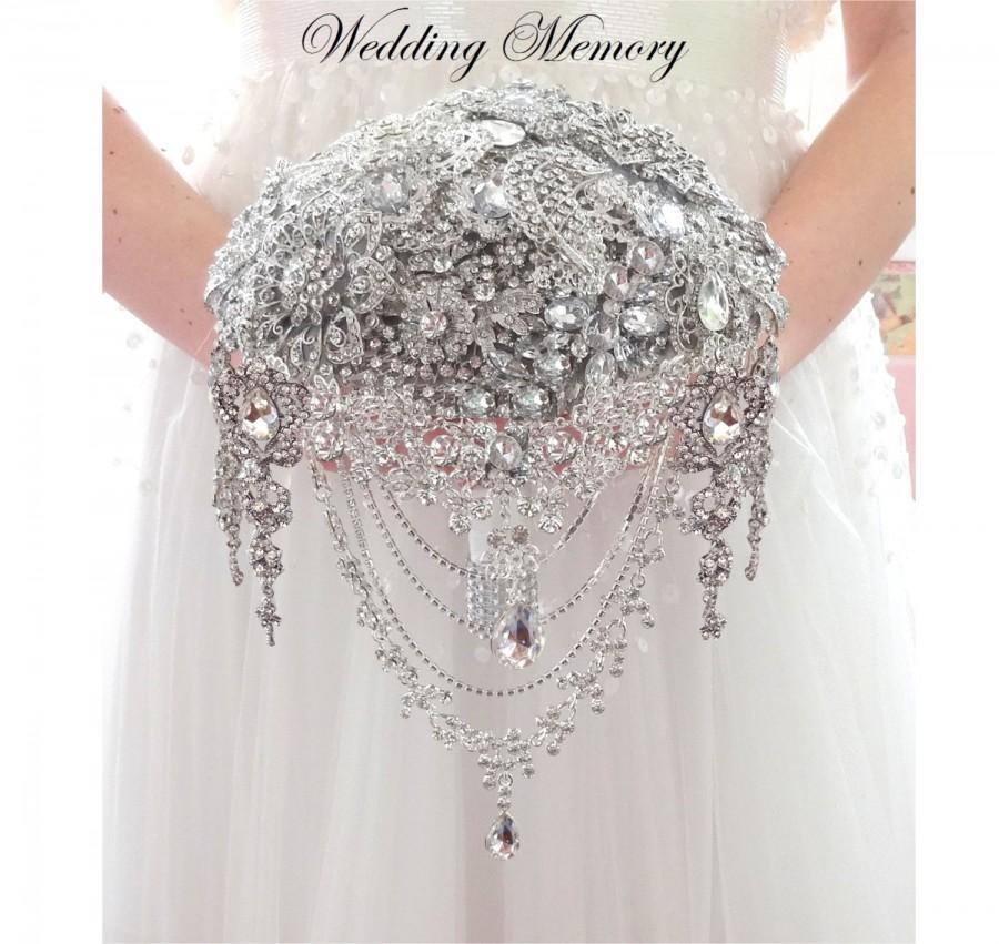 زفاف - BROOCH BOUQUET silver jeweled with cascading of wedding jewelery for bride