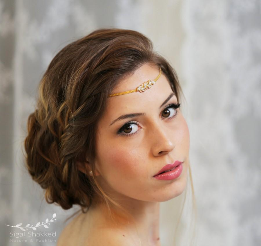 Mariage - Boho Bridal Headband Wedding Hair Accessories boho head chain Bridal Hairband Gold tiara  Bridal forehead band metal headband crown jewelry