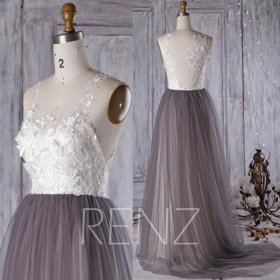 2016 Off White Lace Bridesmaid Dress Charcoal Gray Wedding Mesh Prom Long Bride Evening Gown Floor Length Hw318