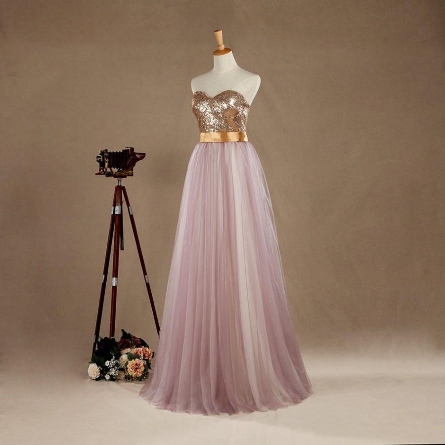 5696be03 2016 Light Purple Tulle Bridesmaid dress, Long Puffy Wedding dress,  Sweetheart Light Gold Sequin Strapless Prom dress floor length