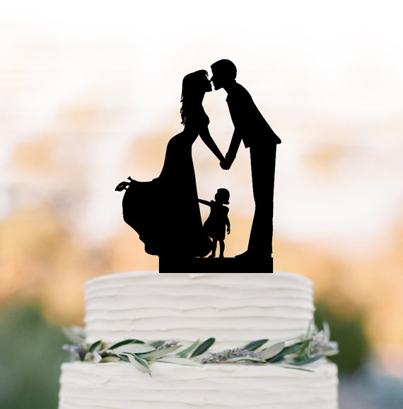 Hochzeit - Family Wedding Cake topper with girl, wedding cake toppers silhouette, funny wedding cake toppers with child Rustic edding cake topper