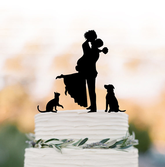 Mariage - Unique Wedding Cake topper dog, Cake Toppers with cat Groom lifting bride, funny wedding cake toppers silhouette