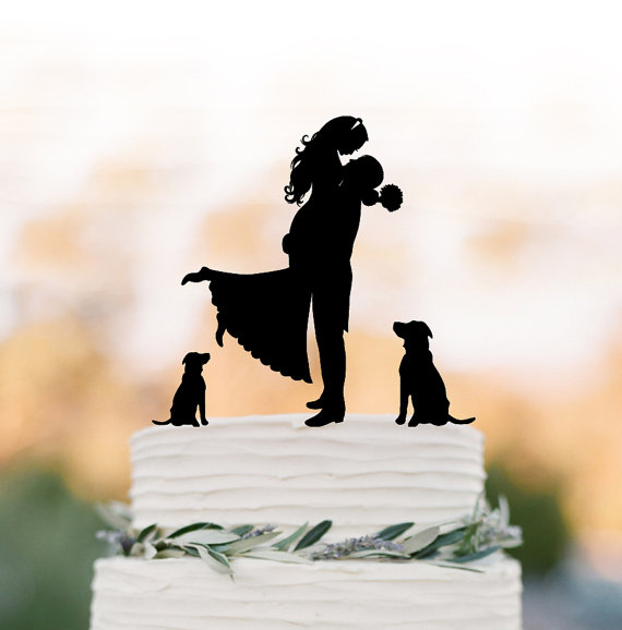 Mariage - Unique Wedding Cake topper two dog, Cake Toppers with custom dog bride and groom silhouette, funny wedding cake toppers with dog