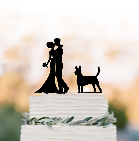 Mariage - Unique Wedding Cake topper dog, Cake Toppers with custom dog bride and groom silhouette, funny wedding cake toppers customized dog