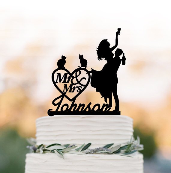 Wedding - Personalized Wedding Cake topper mr and mrs, Cake Toppers with cat bride and groom silhouette, funny wedding cake toppers customized