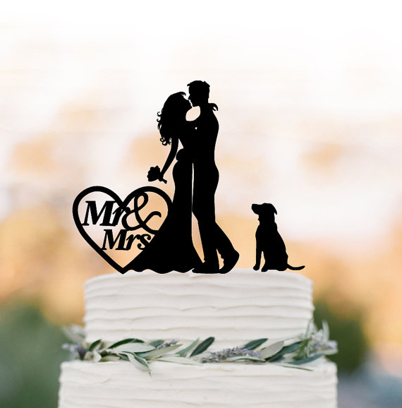 Hochzeit - Funny Wedding Cake topper mr and mrs, Cake Toppers with dog, couple silhouette, cake toppers bride and groom with heart decor