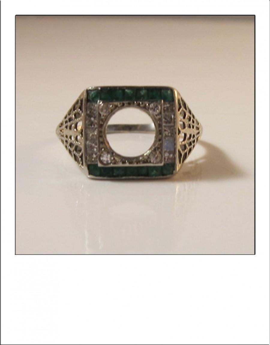 Mariage - Antique Art Deco 18k  Filigree Princess Cut Diamond Emerald Engagement Ring Mount Setting