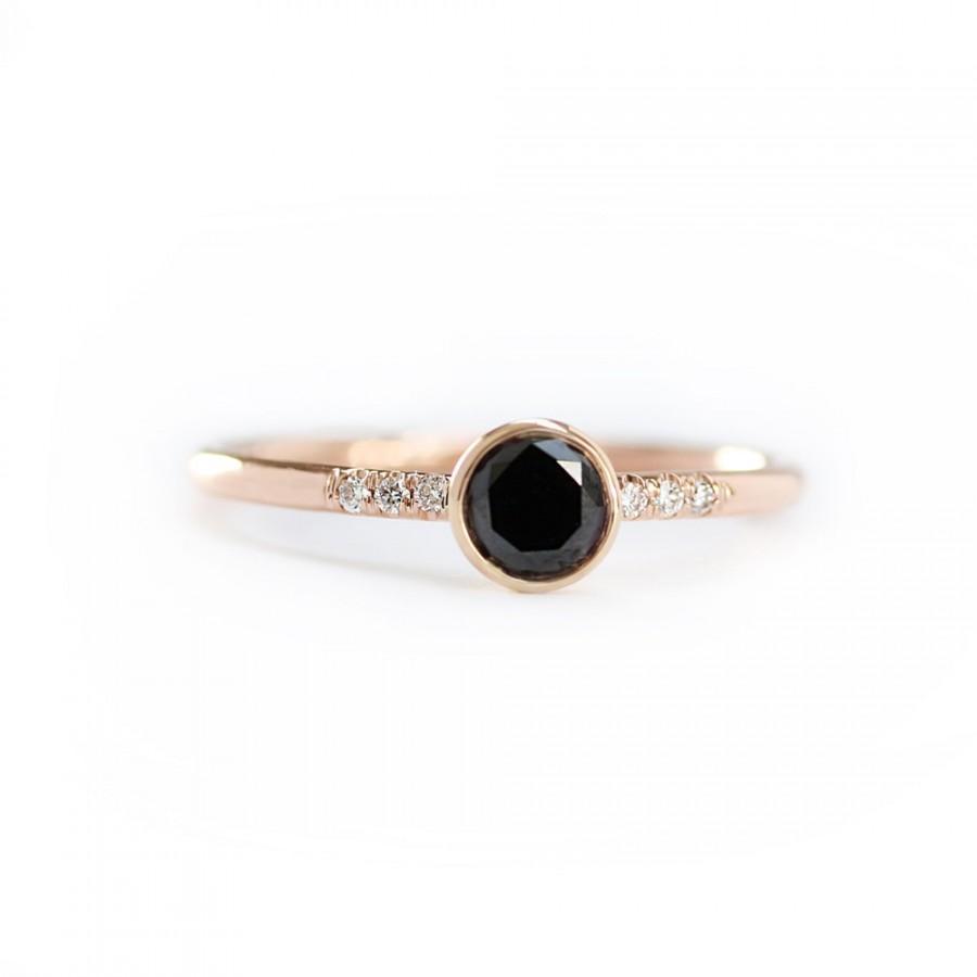 زفاف - 14k Solid Gold Black Diamond Engagement Ring ,Simple Engagement Ring,Stacking Diamond Gold Ring-Conflict Free