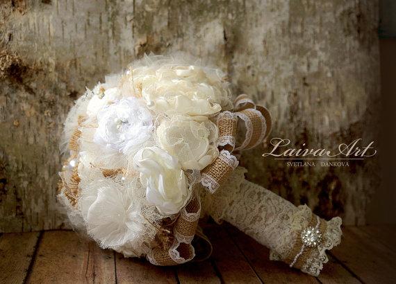 Wedding - Rustic Wedding Flowers Bridal Bouquet Burlap Bouquet Silk Flower Bridesmaid Bouquet Brooch Bouquet