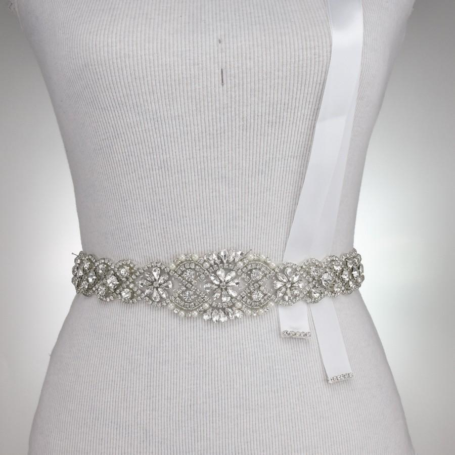 Crystal sash 36 l bridal belt rhinestone crystal belt for Sparkly belt for wedding dress