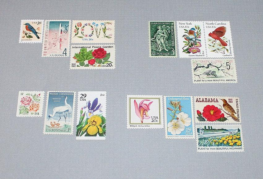 Hochzeit - Flower Power II .. Vintage Unused US Postage Stamps Enough for you to mail 20 letters. Wedding invitation postage, Letter writers Alliance