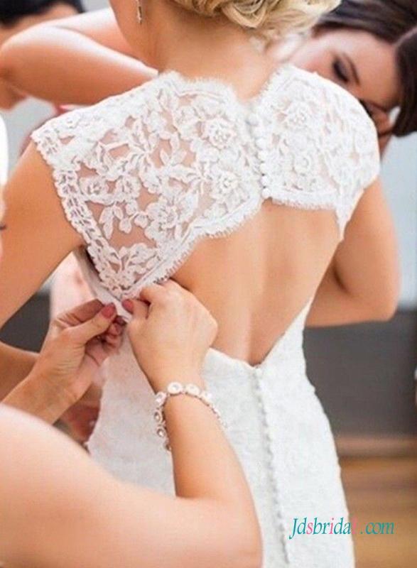 زفاف - Sexy low back lace flare mermaid wedding dress with bolero