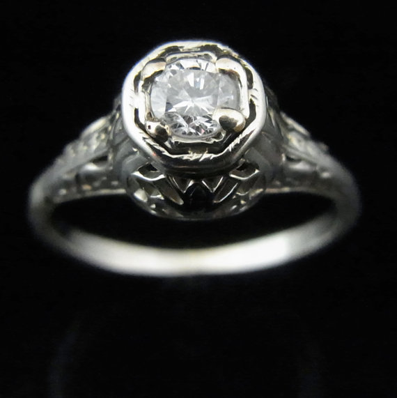 Mariage - Art Deco Diamond 14k White Gold Ring Engagement Promise Vintage Estate Filigree