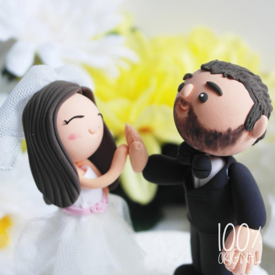 Custom Wedding Cake Topper- High-Five Couple #2606632 - Weddbook