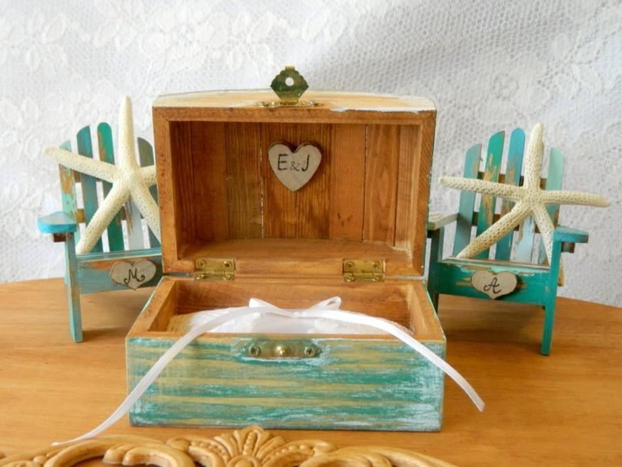 Wedding Nautical Set Wedding Ring Box Wedding Adirondack Chairs Cake Topper  Personalized Initials