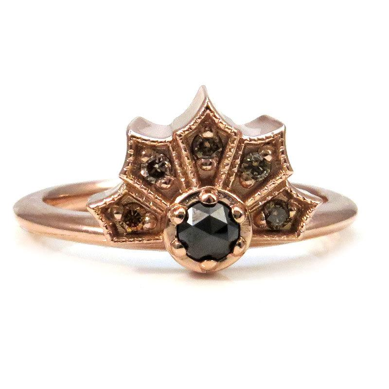 Wedding - Pointed Crown Ring with a Rose Cut Black Diamond and Champagne Diamond Sides - 14k Rose Gold Modern Engagement Ring