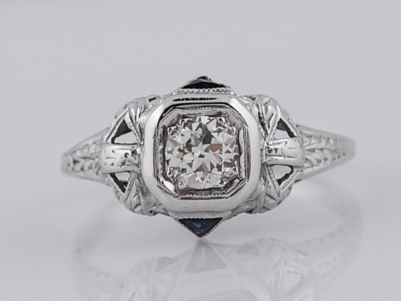 Wedding - 1920's Engagement Ring Art Deco .36 Old European Cut Diamond in 18k White Gold