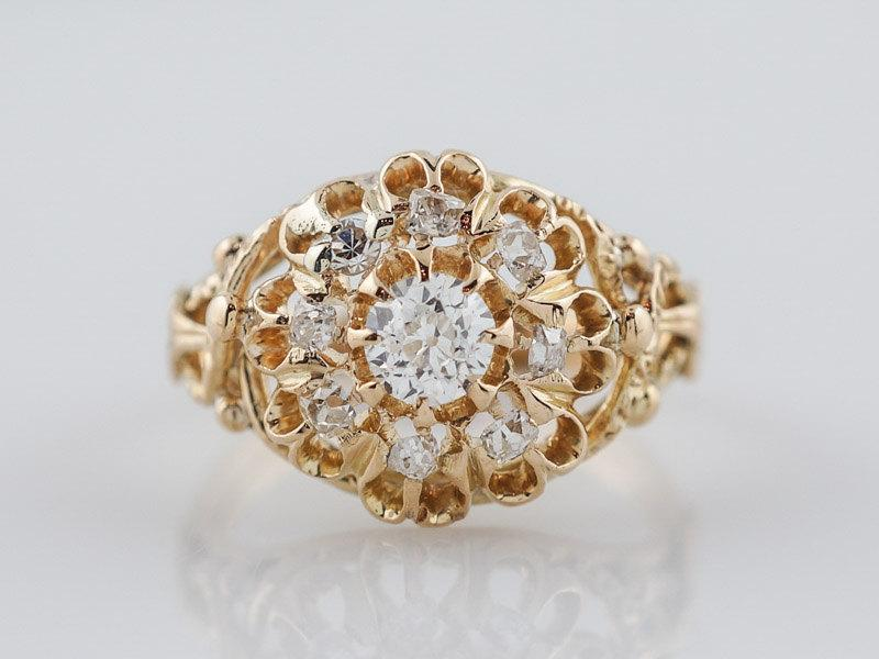 Wedding - Antique Engagement Ring Victorian .29ct Old Mine Cut Diamond in 14k Yellow Gold