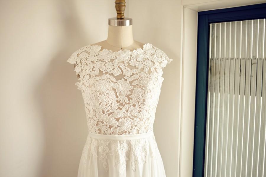 Wedding - Boat Neckline Lace Chiffon Wedding Dress Backless Open Back V Back Bridal Gown