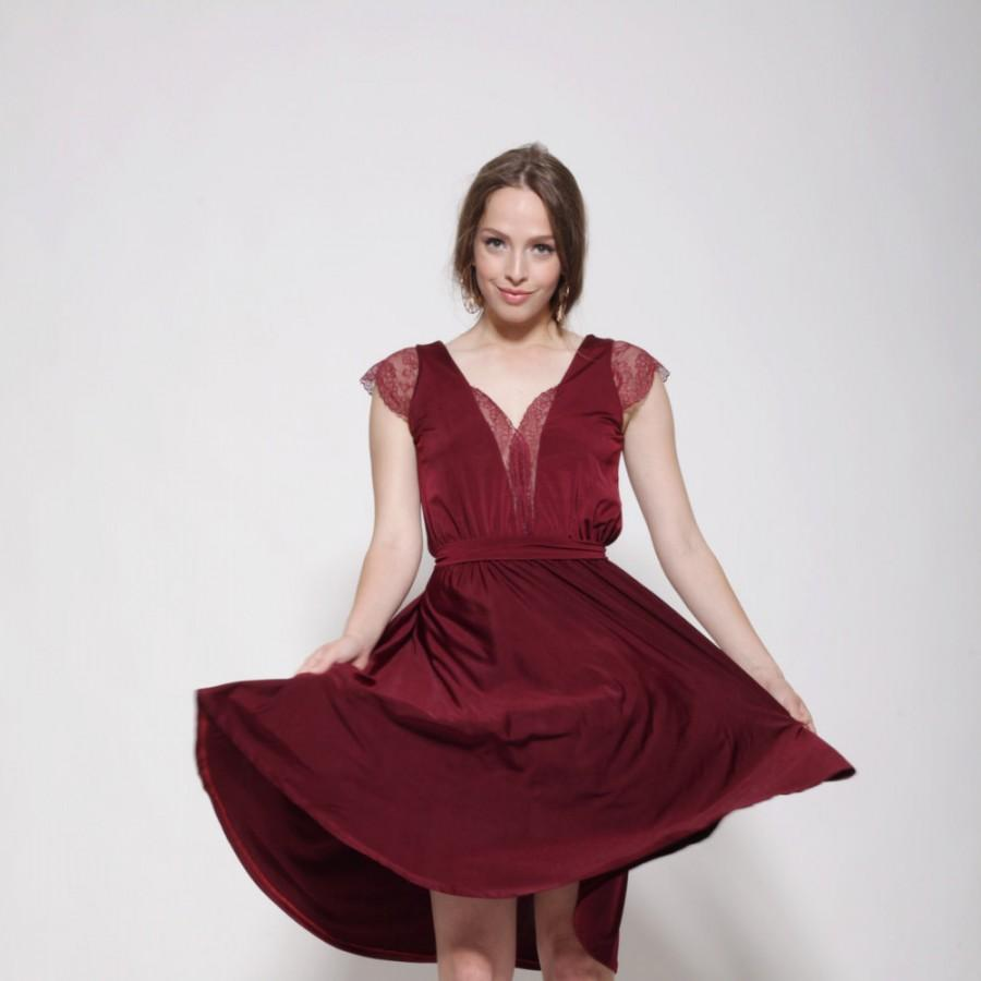 Свадьба - Maroon dress knee length, lace cleavage and sleeves ,bell shape skirt