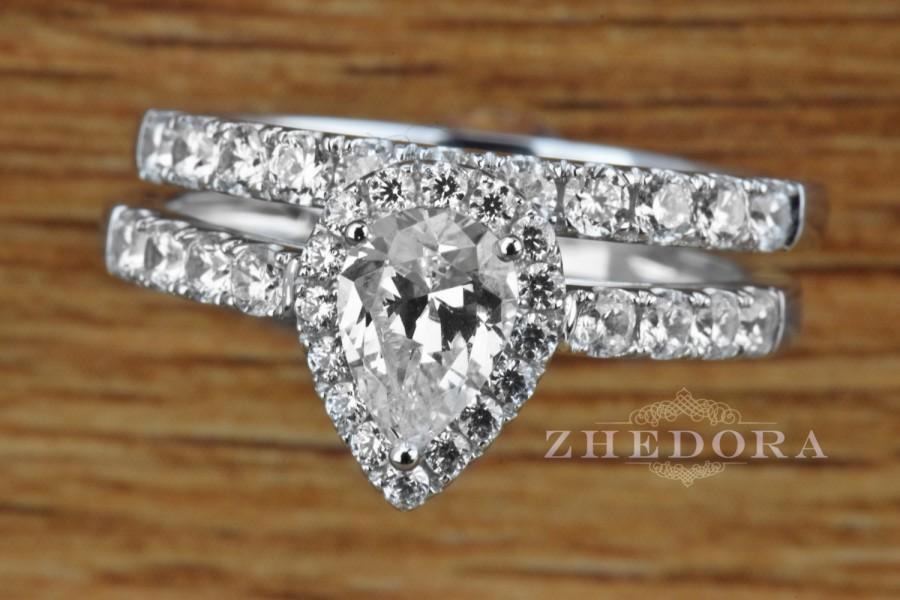 Wedding - 1.50 CT Pear Cut Engagement Bridal Ring Band set Solid 14k White Gold, Bridal set Pear Shaped
