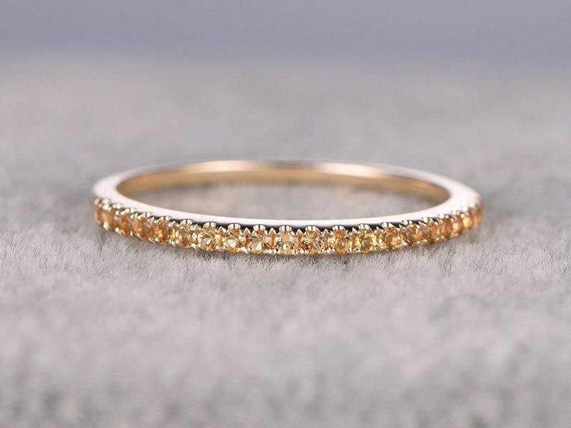 208b02b54005c Yellow Citrine Wedding Ring,Solid 14K Gold,Pave Set,Anniversary Ring ...
