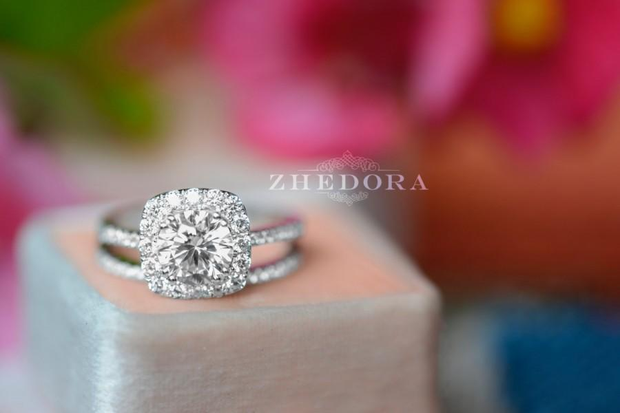 Mariage - 2.10 CT Round Halo Engagement Ring band Bridal set Solid 14k White Gold, Unique White Gold Engagement Rings by Zhedora