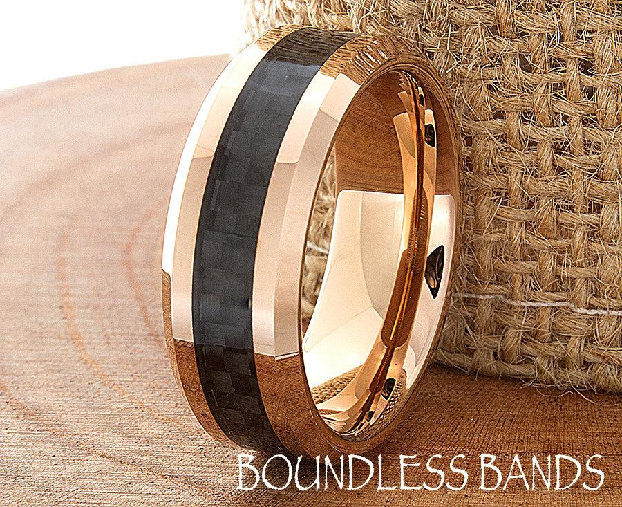 Tungsten Rose Gold Wedding Band Polished Beveled Edges 8mm Black Carbon Fiber Inlay Comfort Fit Mens Womens Anniversary Ring Free Engraving