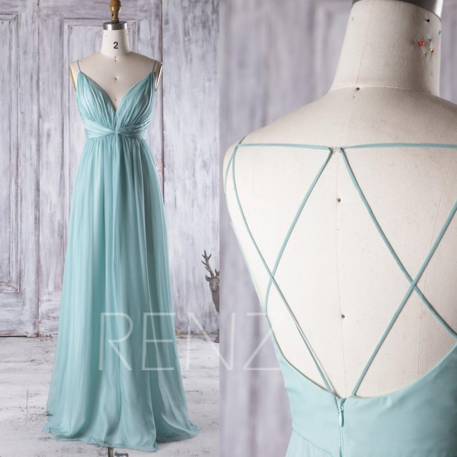 Teal Wedding Gown: 2016 Light Teal Chiffon Bridesmaid Dress, V Neck Wedding