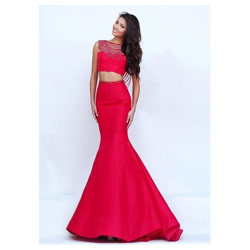 Wedding - Exquisite Tulle & Satin Bateau Neckline Two-piece Mermaid Evening Dresses With Beadings - overpinks.com