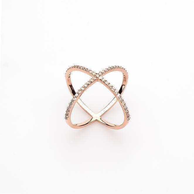 14k Rose Gold Engagement Ring 14K Gold Cross Cross Ring X Ring