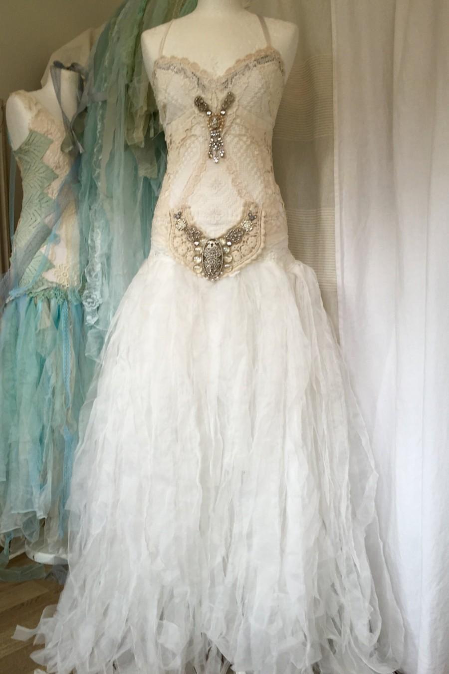 Hochzeit - Statement wedding dress,bridal gown extraordinaire,bohemian wedding dress,lace wedding dress, alternative wedding dress,statement wedding