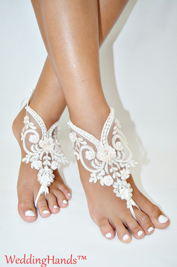 زفاف - Handmade lace Barefoot anklet, Women's bridal ankle nude shoes, Handmade lace Barefoot sandles, Handicraft wedding barefoot sandals