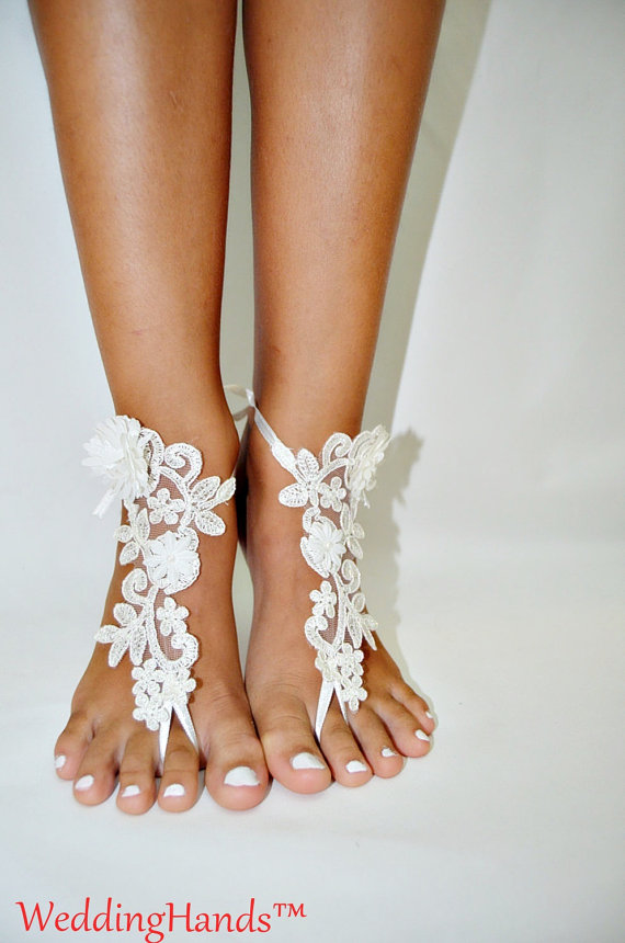 زفاف - Lace sandals for wedding, Footless bridal Foot Jewelry, Footless beach sandals, Women's bridal ankle sandals, Women's bridal lace sandals