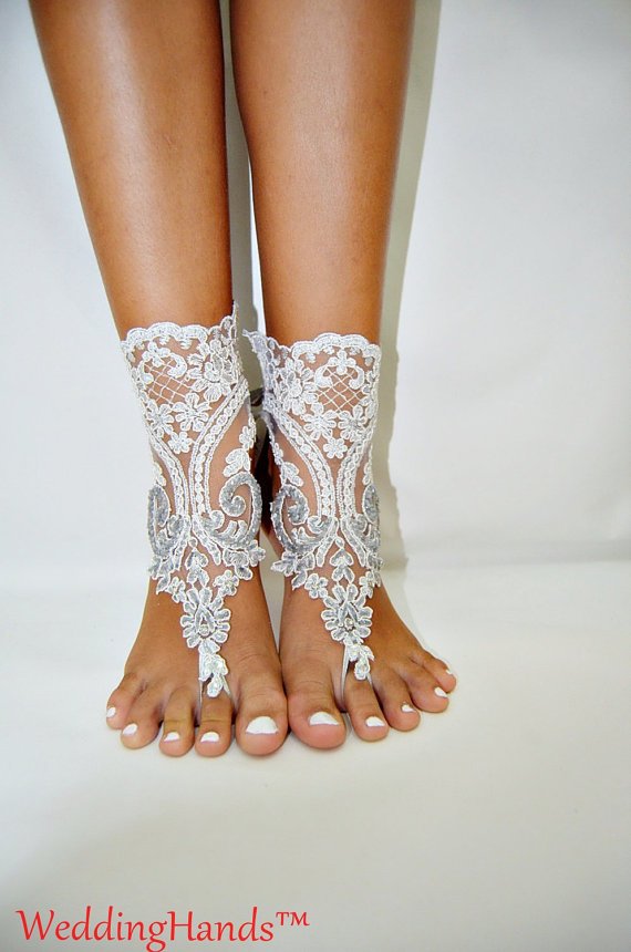 زفاف - Women's bridal lace sandles, Lace bridesmaid sandals, Women's wedding barefoot nude shoes, Women's bridal crochet sandles, Lace beach anklet