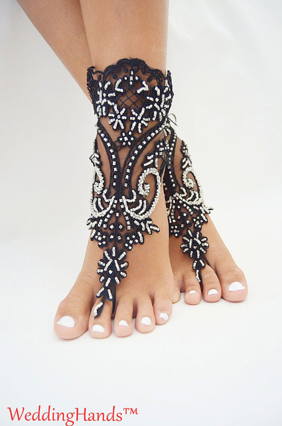 Mariage - Beaded bridal anklets, Footless wedding sandals, Beaded lace sandals, Footless lace women's sandles, Footless lace embroidered sandles