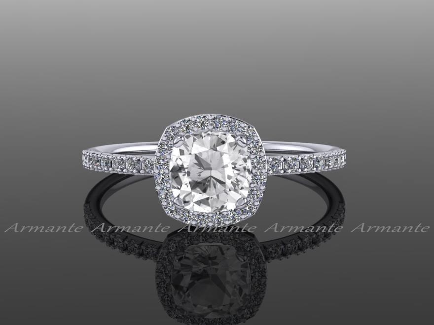 halo white sapphire engagement ring cushion cut